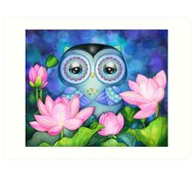 Owl in Lotus Pond Art Print