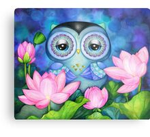 Owl in Lotus Pond Metal Print