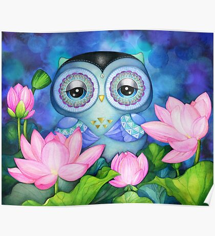Owl in Lotus Pond Poster