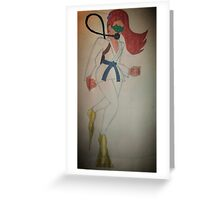 BJJ scuba gi girl vintage Greeting Card
