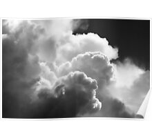 Black And white Sky With Building Puffy Storm Clouds Poster