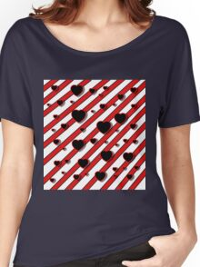 Black  and red harts  Women's Relaxed Fit T-Shirt