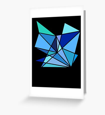 blue and green geometric triangle pattern Greeting Card