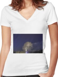 Fireworks over a river Women's Fitted V-Neck T-Shirt