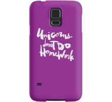 Unicorns Don't Do Homework v2 : White on Purple Samsung Galaxy Case/Skin