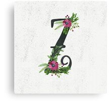 Letter Z with Floral Wreath Canvas Print