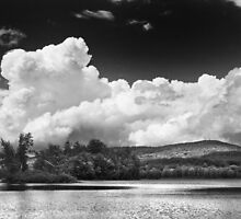Black And white Vienna Maine Flying Pond With Storm Clouds by KWJphotoart