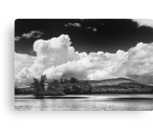 Black And white Vienna Maine Flying Pond With Storm Clouds Canvas Print