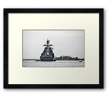warship at the pier with flags Framed Print