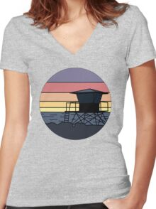 Round Guard Tower Women's Fitted V-Neck T-Shirt