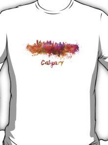 Calgary skyline in watercolor T-Shirt