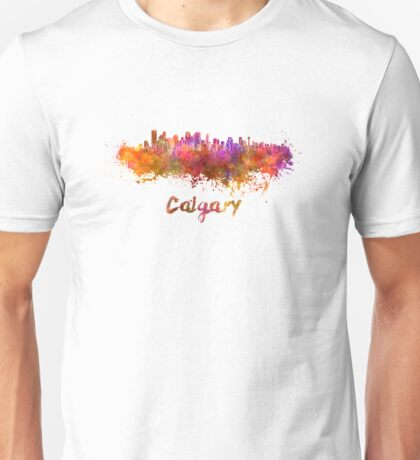 Calgary skyline in watercolor Unisex T-Shirt