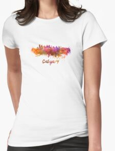 Calgary skyline in watercolor Womens Fitted T-Shirt