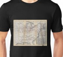 0028 Railroad Maps Tunis new colored rail road map of the United States Canadas revised and corrected every Unisex T-Shirt