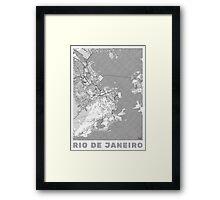 Rio de Janerio Map Line Framed Print
