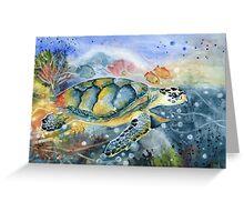 Colorful Sea Turtle Art Greeting Card