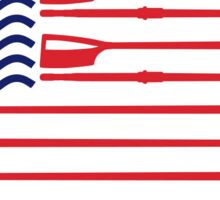 Rowing American Flag Sticker Sticker