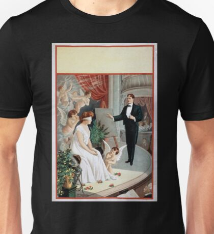 Performing Arts Posters Hypnotist and blindfolded woman with angels on stage 1568 Unisex T-Shirt