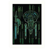 USS Enterprise Wireframe Art Print