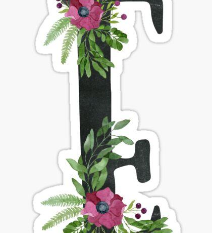 Monogram E with Floral Wreath Sticker