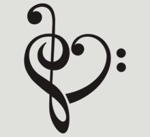MUSIC HEART, Love, Music, Bass Clef, Treble Clef, Classic, Dance, Electro T-Shirt