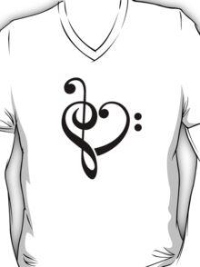 MUSIC HEART, Love, Music, Bass Clef, Treble Clef, Classic, Dance, Electro T-Shirt