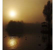 Misty Golden Morning at the Lake 2 Photographic Print