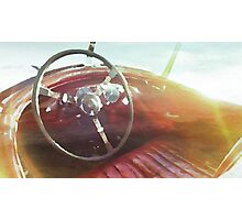 vintage race car in watercolor Photographic Print