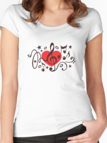 MUSIC HEART, Music Notes, Clef, Bass Clef, Violin Clef, Sound Women's Fitted Scoop T-Shirt