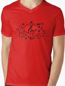 MUSIC HEART, Music Notes, Clef, Bass Clef, Violin Clef, Sound Mens V-Neck T-Shirt