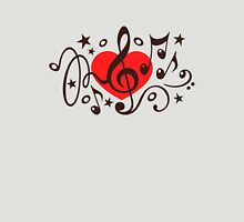 MUSIC HEART, Music Notes, Clef, Bass Clef, Violin Clef, Sound Womens Fitted T-Shirt