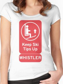 Ski Tips Up! It's time to ski! Whistler! Women's Fitted Scoop T-Shirt
