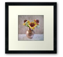 Sunny Flowers in a Copper Pitcher Framed Print