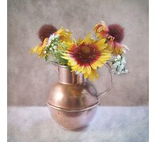 Sunny Flowers in a Copper Pitcher Photographic Print