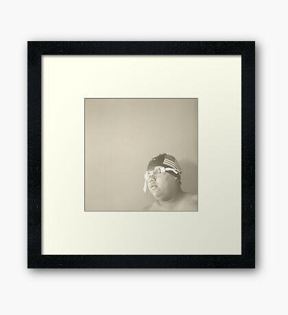 Swim Cap and Goggles Framed Print