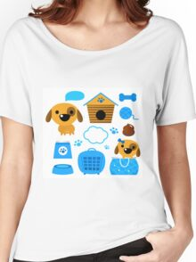 Cute nice Dogs for little Kids : blue design Edition Women's Relaxed Fit T-Shirt