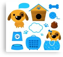 Cute nice Dogs for little Kids : blue design Edition Canvas Print