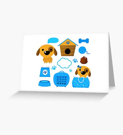 Cute nice Dogs for little Kids : blue design Edition Greeting Card