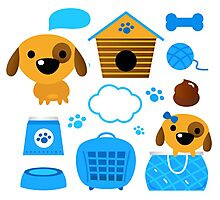 Cute nice Dogs for little Kids : blue design Edition Photographic Print
