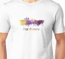 Des Moines skyline in watercolor Unisex T-Shirt