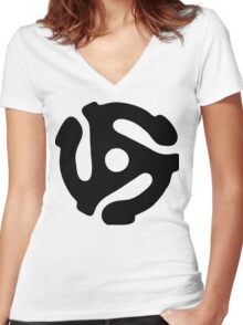 45 rpm vinyl adapter Women's Fitted V-Neck T-Shirt