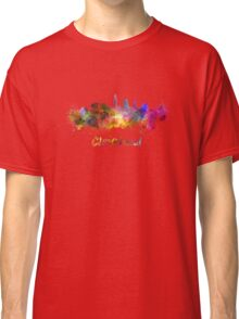 Cleveland skyline in watercolor Classic T-Shirt