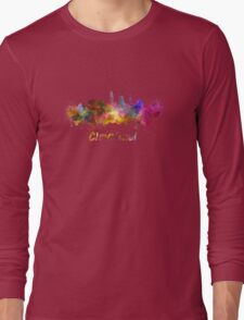 Cleveland skyline in watercolor Long Sleeve T-Shirt