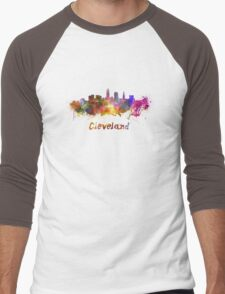 Cleveland skyline in watercolor Men's Baseball ¾ T-Shirt