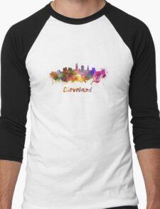 Cleveland skyline in watercolor Men's Baseball ¾ T-Shirt