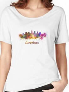Cleveland skyline in watercolor Women's Relaxed Fit T-Shirt