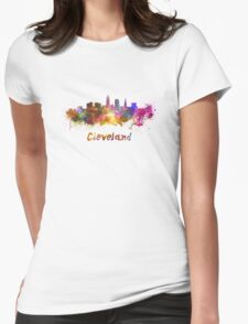 Cleveland skyline in watercolor Womens Fitted T-Shirt