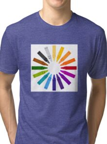 Colorful Pastels for Kids in hand-drawn Style. Tri-blend T-Shirt