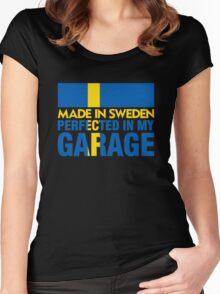Made In Sweden PERFECTED IN MY GARAGE Women's Fitted Scoop T-Shirt
