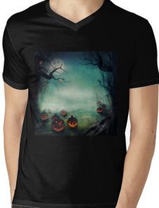halloween,pumpkins,bats,crows,desolate forest,dark and gloomy Mens V-Neck T-Shirt
